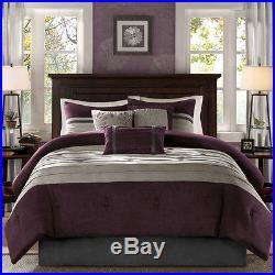 Beautiful Soft Modern Chic Textured Purple Plum Grey Comforter Set & Pillows New