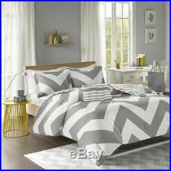 Beautiful Soft Modern Grey Pink White Stripe Textured Comforter Set Shams New