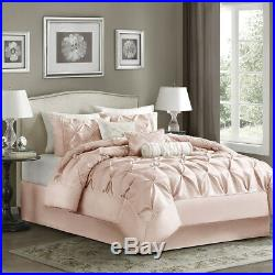 Beautiful Soft Pink Ivory Chic Elegant Tufted Ruffle Comforter Set & Pillows New