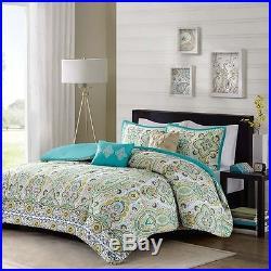 Beautiful Tropical Exotic Teal Aqua Global Blue Green Comforter Set Full Queen