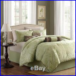 Beautiful Tropical Green Sage Brown Beach Coastal Palm Tree Leaf Comforter Set