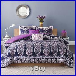 Beautiful Tropical Purple Blue Teal Global Boho Bohemian Southwest Comforter Set