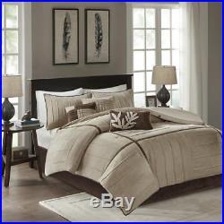 Beautiful Ultra Soft Cozy Modern Tan Beige Brown Taupe Comforter Set King Queen