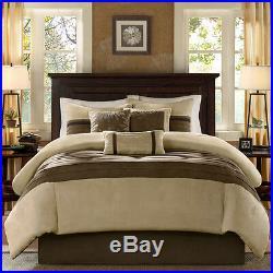 Beautiful Ultra Soft Modern Brown Taupe Beige Tan Pintuck Stripe Comforter Set