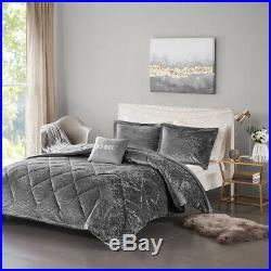 Beautiful Ultra Soft Plush Chic Grey Silver Velvet Girls Modern Comforter Set