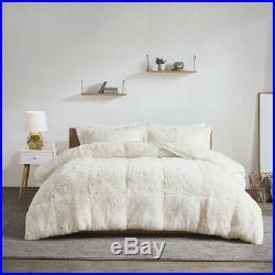 Beautiful Ultra Soft Plush Cozy Ivory White Warm Fur Luxury Chic Comforter Set