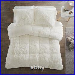 Beautiful Ultra Soft Plush Fluffy Fuzz Ivory White Faux Fur Luxury Comforter Set