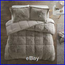 Beautiful Ultra Soft Plush Warm Rich Cozy Grey Faux Fur Luxury Comforter Set