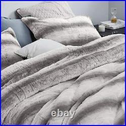 Beautiful soft Grey Chinchilla Faux Fur Striped King Queen Comforter 3 pcs Set
