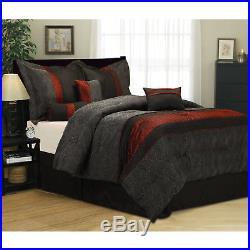 Bed in a Bag 7 Piece Bedding Comforter Set For Home Dorm Full Size Black Red