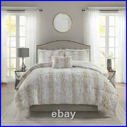 Beige White Snow Leopard Spot Faux Fur 4pc Comforter Set Full Queen King Bedding