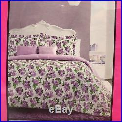 Betsey Johnson Floral Full Queen Comforter 3 Pillows Bedding Set Purple White