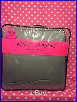 Betsey Johnson Grey Purple Skull Trellis Punk Love QUEEN Comforter Bed Set NEW