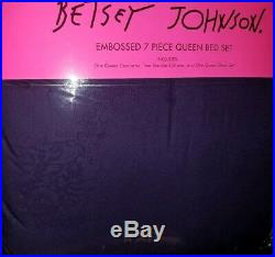 Betsey Johnson Queen Comforter 7PC Set Floral Rose Purple /White Sheets Rare