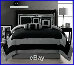 Black Grey Patchwork Micro Suede Oversize Bed in a Bag Comforter Set KING Size