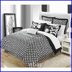 Black White Floral Geometric Trellis Circle 7pc Comforter Set Queen King Bedding