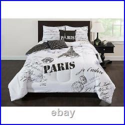 Black White Paris French Eiffel Postcard 5 pc Comforter Set Full Queen King Bed