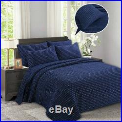 Blue Striped Patchwork Quilt Coverlet Queen Size Bedspread Set Bedding Comforter