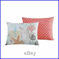 Blue Tan Coral Nautical Beach Starfish 8 pc Comforter Sheet Set Queen King Bed