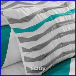 Blue Teal White Grey Chevron Stripe Modern Comforter Set Twin King Full Queen