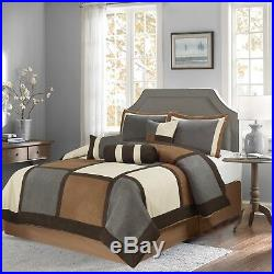 Brown & Gray & Beige Suede 7-piece Patchwork Comforter Set Winter Bedding