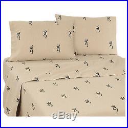 Browning Buckmark Queen Comforter Set withsheets 8p Original Plaid Deer Logo Cabin