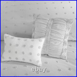 CHIC GRAY Twin Queen Cal King COMFORTER SET TUFTED COTTON GREY JACQUARD QUILT