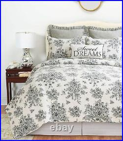 COTTAGE BLACK ROSE Full Queen QUILT SET FRENCH COUNTRY SHABBY ONYX TOILE NELLY