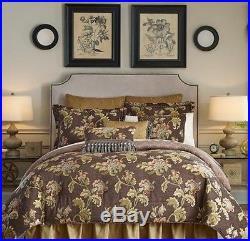 CROSCILL 4pc Savannah Queen COMFORTER SET Brown Floral Jacobean