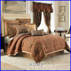 CROSCILL COUTURE Palazzo QUEEN COMFORTER SET 6pc Euros NWT Damask Floral Apricot