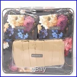 CROSCILL Cecilia QUEEN COMFORTER SET 7pc EURO SHAMS Floral Red Blue Grey NWT