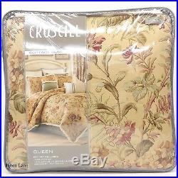CROSCILL Cottage Rose QUEEN COMFORTER SET 4pc Vintage Floral Ivory Pink Sage NWT