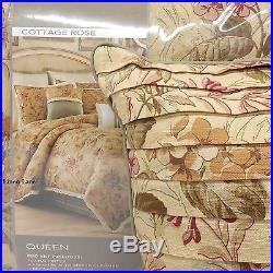 Croscill Cottage Rose Queen Comforter Set 5pc Vintage