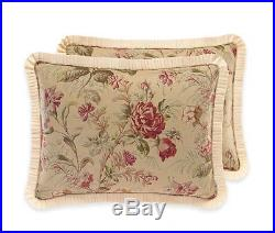 CROSCILL Cottage Rose QUEEN COMFORTER SET 5pc Vintage Floral PILLOW! Ivory Pink