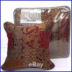 CROSCILL Galleria QUEEN COMFORTER SET NWT 5pc PILLOW Red Bronze PATCHWORK Floral