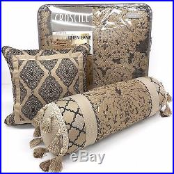CROSCILL Milana QUEEN COMFORTER SET NWT 6pc PILLOWS Taupe Brown MEDALLION FLORAL