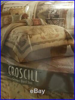 CROSCILL NORMANDY 4 PC COMFORTER SET QUEEN Natural Tan Gold