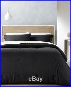 Calvin Klein Modern 3-Pc. Cotton Modal Mini Comforter Set QUEEN Muted Black