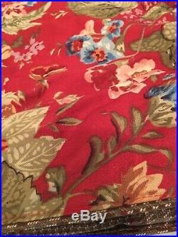 Chaps Ralph Lauren Summerton Queen Comforter 2 Shams Set Red Tan Roses Floral