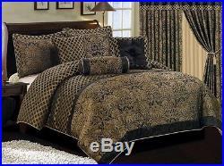 Chezmoi Collection Lisbon 7pcs Jacquard Floral Comforter Set Queen, Black/Gold