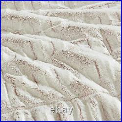 Chic Blush Long Faux Fur Reversible Comforter Set AND Decorative Shams