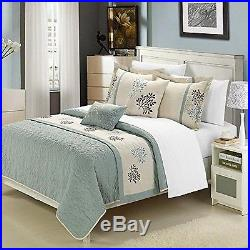 Chic Home 6-Piece Kirsten Embroidered Comforter Set Queen Sage Beige