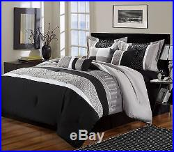 Chic Home 8-Piece Euphoria Embroidered Comforter Set Queen Black/White