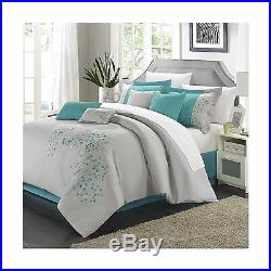 Chic Home 8-Piece Pink Floral Embroidered Comforter Set Queen Gray New