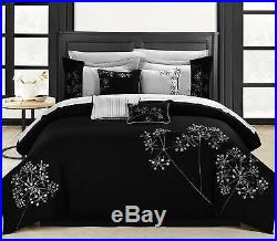 Chic Home Pink Floral 8-Piece Embroidered Comforter Set Queen Black/White