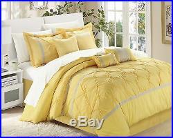 Chic Home Vermont 8-Piece Comforter Set Queen YellowithGrey