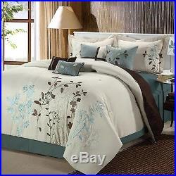 Chic Home Vines 8-Piece Comforter Bedding Set Beige Queen New