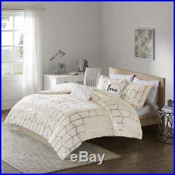 Chic Stylish Ivory White Gold Chevron Girls Geometric Comforter Set Full Queen