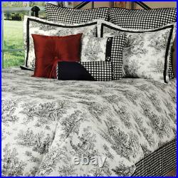 Classic Black & White Jamestown Toile Bedding Set Comforter Shams Skirt Add More