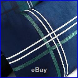 Classic Soft Blue Green White Navy Plaid Stripe Cabin Comforter Set & Pillow
